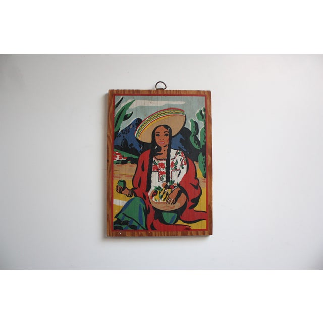 Image of Vintage Mexican Folk Art Painting of a Woman