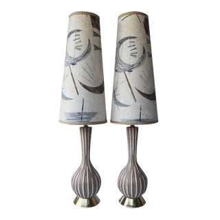 Mid-Century f.a.i.p. Chalkware Lamps - a Pair