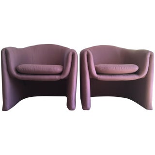 Carter Sculptural Mauve Lounge Chairs - A Pair
