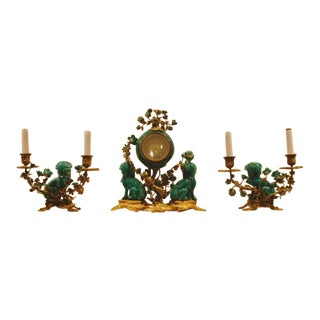 A Chinese Porcelain and French Ormolu Mounted Clock Garniture