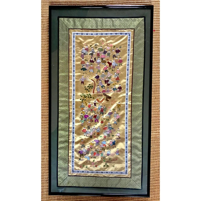 Mid-Century Chinese Silk Embroidered Tapestry - Image 2 of 5