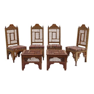 Antique Syrian Moorish Style Inlaid Chairs & Side Tables - Set of 3