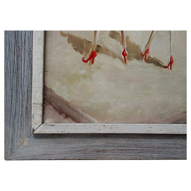 Mid-Century WWII 40's Figural Abstract Painting - Image 4 of 4