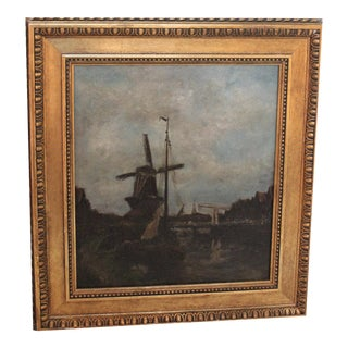 Vintage Oil Painting of Landscape With Windmill