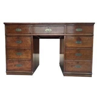 Antique English Mahogany Twin Pedestal Campaign Desk