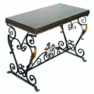 Italian Wrought Iron Console with Marble Top