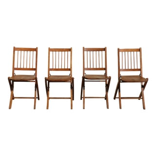 1900's Folding Solid Wood Chairs - Set of 4
