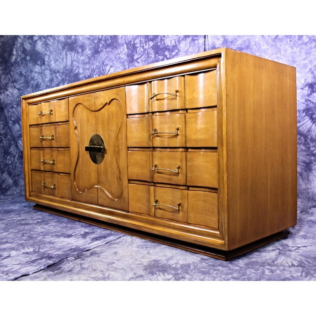 mid century mirror vanity bureau cabinet standard dresser chairish. Black Bedroom Furniture Sets. Home Design Ideas