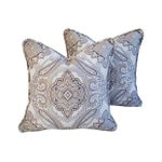 Image of Rodin Pewter Medallion Pillows - A Pair