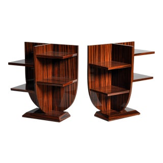Pair of Diminutive Lyre-Form Display Tables