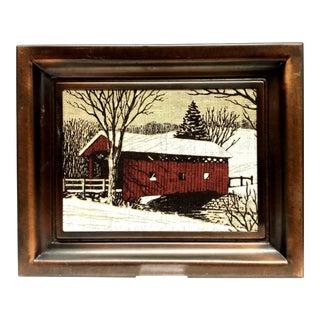 Vintage Burlap Painting, Coppercraft Guild Taunton Ma Frame