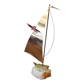 Demott Signed Quartz Based Brass Sailboat
