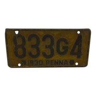 1930s Automobile License Plate