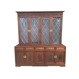 Hand Carved Asian Chinoiserie China Cabinet Hutch by Ricardo Lynn