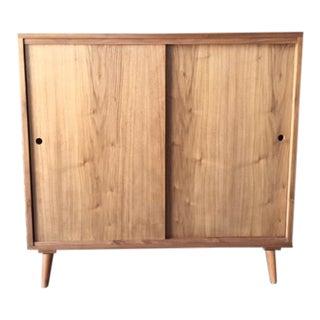 Custom Mid Century Style Walnut Credenza Record Cabinet