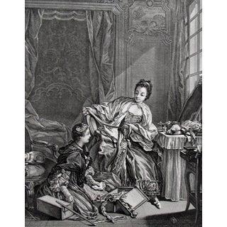 1856 Vintage Rococo Fabric Merchant Engraving