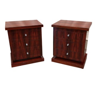Vintage Art Deco Single Drawer Nightstand Art Moderne Side Tables - a Pair