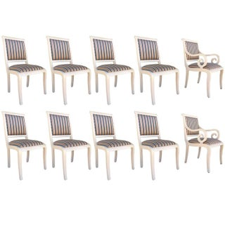 Captain Chairs and Lacquered Dining Chairs - Set of 10