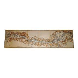 1892 Rhein River Germany (Rhine River) Koblenz to Bonn Map