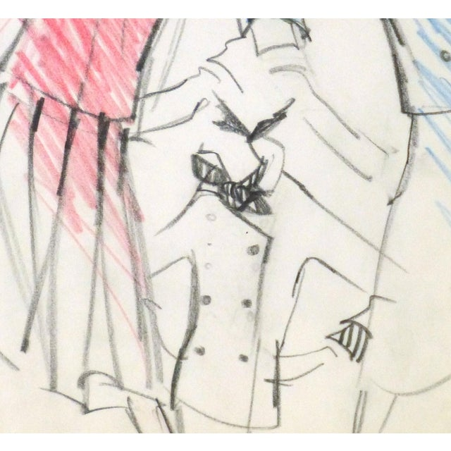 Original Balmain Dress Suit Fashion Sketch 1960 - Image 3 of 4