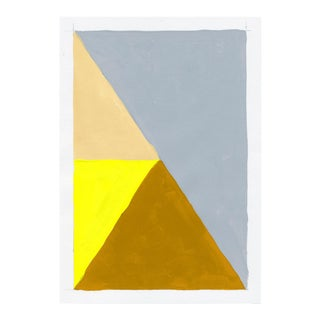 Contemporary Geometric Yellow & Gray Acrylic Painting