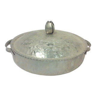 Hammered Aluminum covered Dish with Engraved Tulip Design