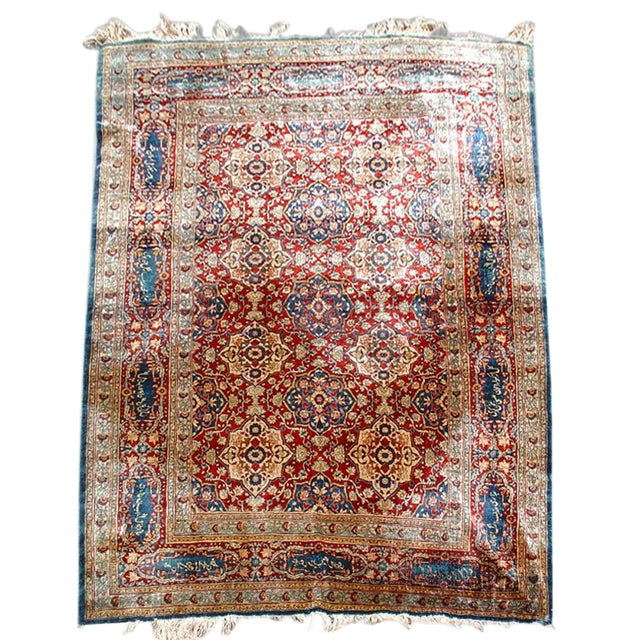 Silk Tabriz Rug with Poem - Image 1 of 1