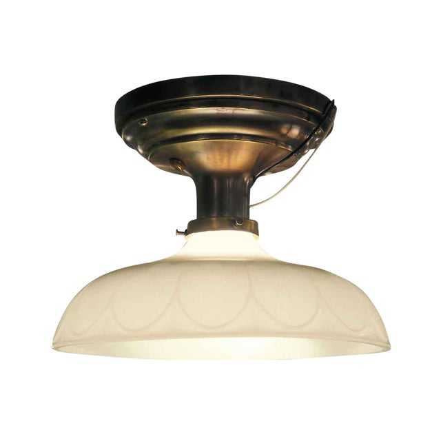Victorian Flush Mount Light with Antique Brass Canopy - Image 1 of 5