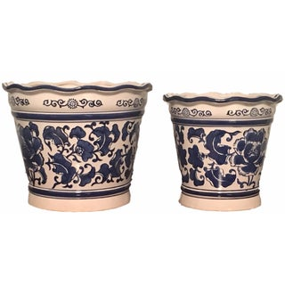 Blue & White Nesting Planters - A Pair