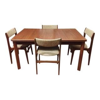 Furbo Mid-Century Danish Teak Expandable Dining Table & Chairs - Set of 5