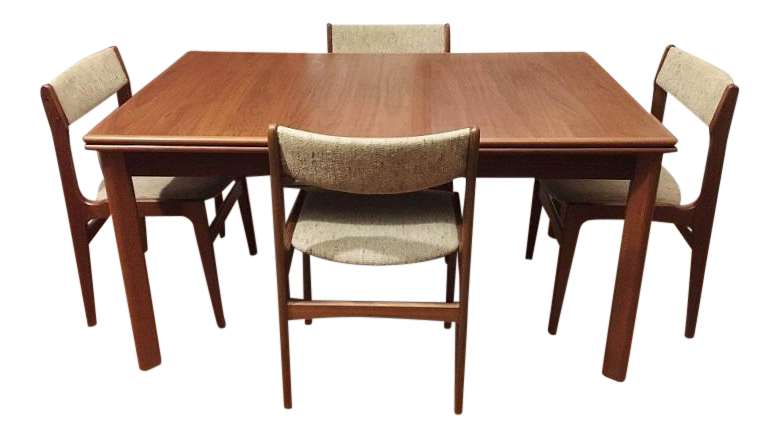 Furbo Mid Century Danish Teak Expandable Dining Table Chairs