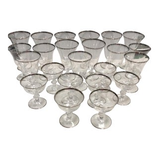 Glastonbury-Lotus Silver Rimmed Crystal Stemware- Set of 23