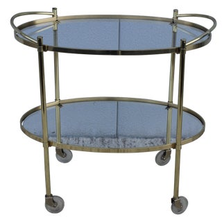 1950's Solid Brass Italian Two Tiar Bar Cart