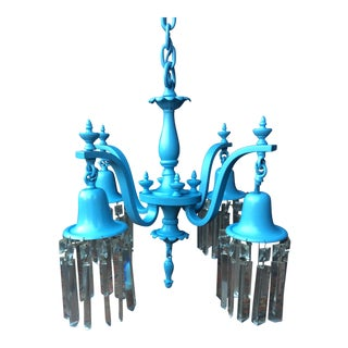 Vintage Blue Shabby Chic Crystal Chandelier