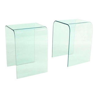 """Pair of Mid-Century Modern Bent Glass """"Ghost"""" End Tables"""