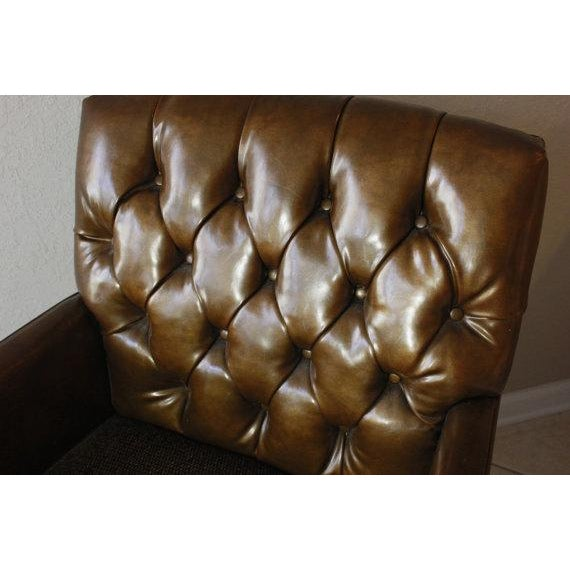 Leather & Tweed Tufted Back Armchair - Image 5 of 6