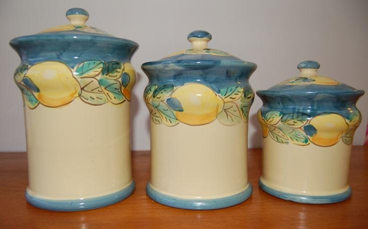 painted italian ceramic canisters 3 chairish