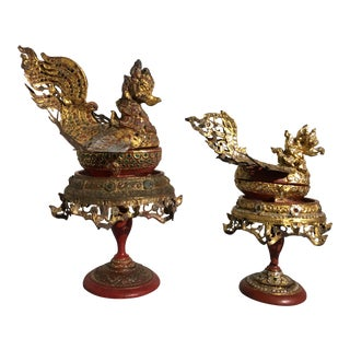 Burmese Bird Form Offering Boxes, Mandalay Period, late 19th century