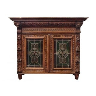 Antique Stain Glass Bookcase
