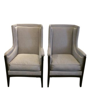 1900s Circa Pair of French Arts and Crafts Upholstered Grey Club Chairs