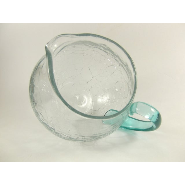 Vintage Crackle Blown Glass Pitcher - Image 5 of 5