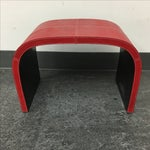 Image of Red Faux Leather Curve Bench