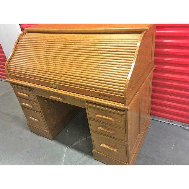 Solid Oak Roll-Top Desk With Keys - Image 9 of 10