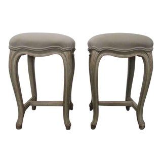 Pair French Painted Upholstered Stools