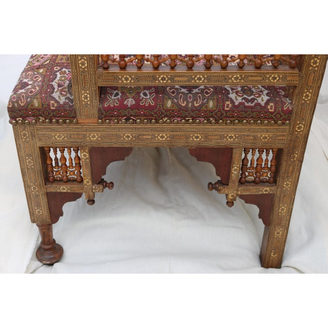 Antique Syrian Moorish Style Inlaid Settee & Tables - Set of 3 - Image 7 of 11