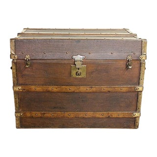 Vintage French Leather & Canvas Specialty Trunk