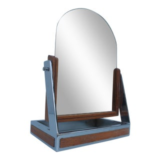 Chrome & Wood Vanity Mirror