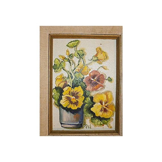 Image of Vintage Impasto Oil Painting of Pansies