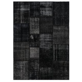 "Black Overdyed Turkish Patchwork Carpet 5'7""x7'11"""