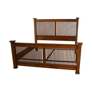 Stickley Mission Oak King Size Spindle Prairie Bed
